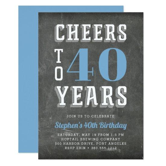 Cheers Milestone Birthday Party Invitations | Blue