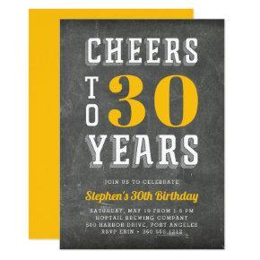 Cheers Milestone Birthday Party Invitation | Gold