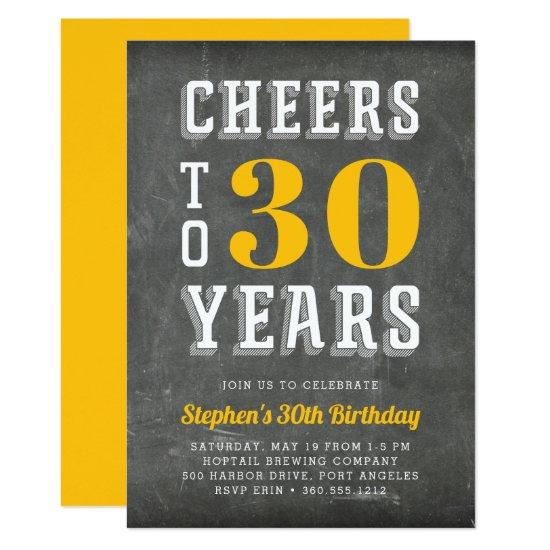 Cheers Milestone Birthday Party Invitations | Gold