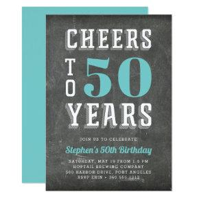 Cheers Milestone Birthday Party Invitation | Teal