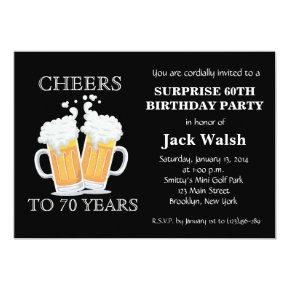 Cheers Surprise 70th Birthday Party Invitations