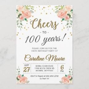 Cheers to 100 Years Ladies 100th Birthday Party Invitation