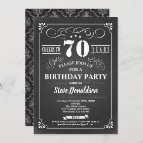 Cheers to 70 year 70th birthday party chalkboard invitation