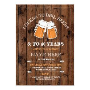Cheers to BBQ, Beers Birthday Party Invitations