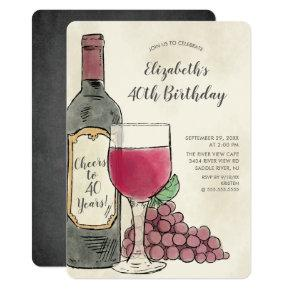 Cheers Wine Birthday Party invitation