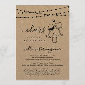 Cheers Wine Funny First Birthday Party Invitation