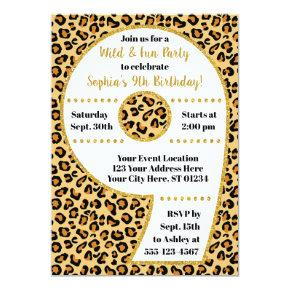 9th birthday party kid s modern big number girl invitations