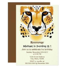 cheetah head close-up illustration birthday party invitation