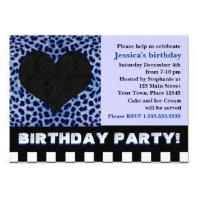 Cheetah Heart Birthday Party - Blue Invitation