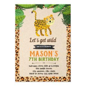 Cheetah leopard party birthday invitation
