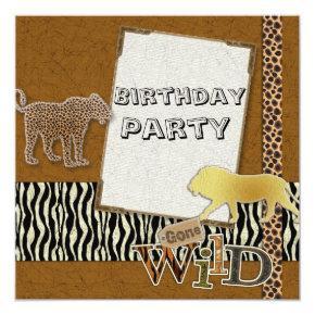 cheetah Lion Safari Zoo Birthday Party Invitation