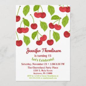 Cherry Birthday Invitation Summer Red Cherries
