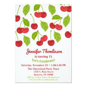 Cherry Birthday Invitation Summer Red Cherries