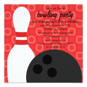 Cherry Red Pin Pals Bowling Birthday Party Invitation