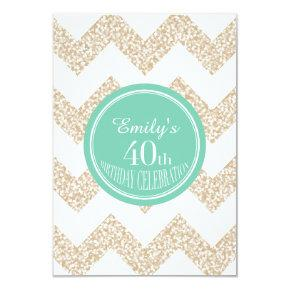 Chevron 40th Birthday Party Choose Color Flat Card