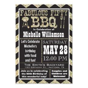 Chevron BBQ 50th Birthday Party Invitations