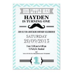 Chevron Mustache Little Man Birthday Invitations