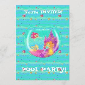 Chibi Mermaids pool party invitation