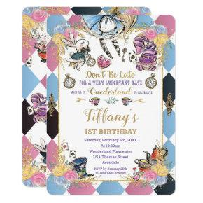 Chic Alice in Wonderland 1st Birthday Tea Party Invitation
