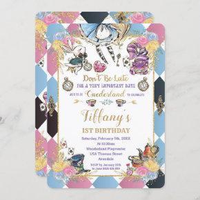 Chic Alice in Wonderland 1st Birthday Tea Party Invitation