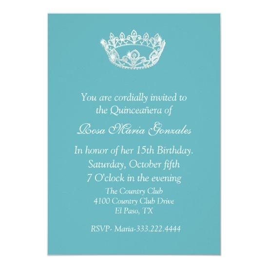 Chic Aqua Blue Crown Quinceanera Invitation Candied Clouds