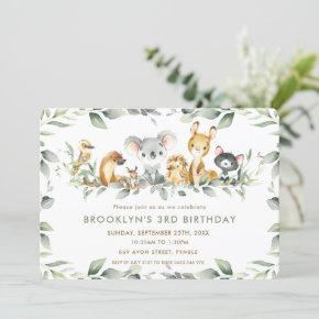 Chic Australian Animals Greenery Birthday Boy Girl Invitation