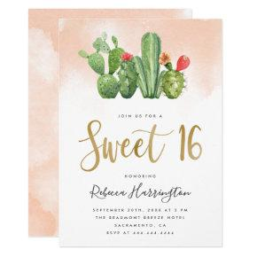 Chic Blush Pink Watercolor & Cactus Sweet 16 Invitation