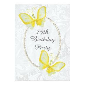Chic Butterflies Damask 25th Birthday Double Sided Invitation