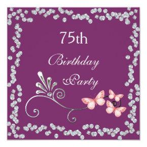 Chic Butterflies & Diamonds 75th Birthday Invitations