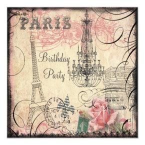 Chic Eiffel Tower & Chandelier Any Age Birthday Invitation