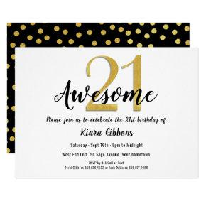 Chic Faux Gold 21st Birthday Party Invitations