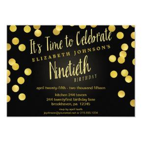 Chic Gold & Black Confetti 90th Birthday Invite