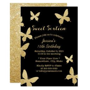 Chic Gold Butterflies Sweet 16