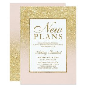 Chic gold glitter elegant pink postponed new plans invitation