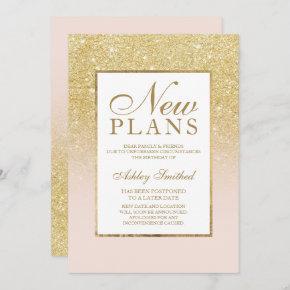 Chic gold glitter elegant pink postponed new plans invitation