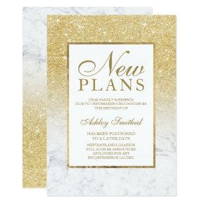 Chic gold glitter marble postponed new plans invitation
