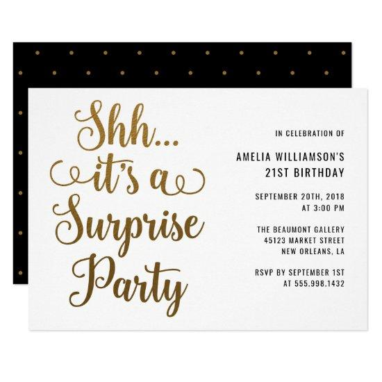 Chic Gold Shh... It's a Surprise Party Typography Invitations