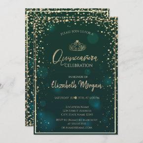 Chic Gold Tiara,Diamonds Green Quinceañera Invitation