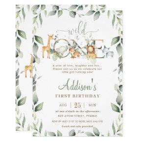 Chic Jungle Animals Greenery 1st Birthday Boy Girl Invitation