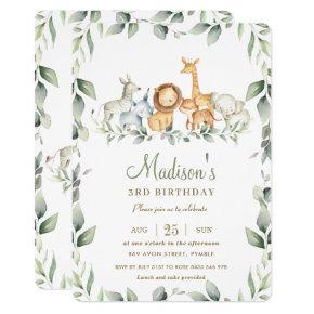 Chic Jungle Animals Greenery Birthday Boy Girl Invitation