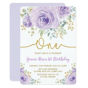 Chic Lavender Floral Rose Girl 1st Birthday Party Invitation