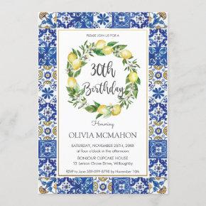 Chic Lemon Mediterranean 30th Birthday Party Invitation