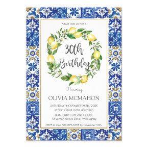Chic Lemon Mediterranean 30th Birthday Party Invitation