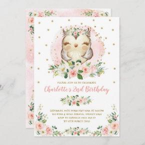 Chic Owl Blush Pink Gold Floral Girl Birthday Invitation
