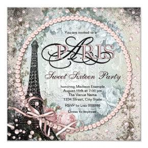 Chic Paris Sweet 16 Party Invitations