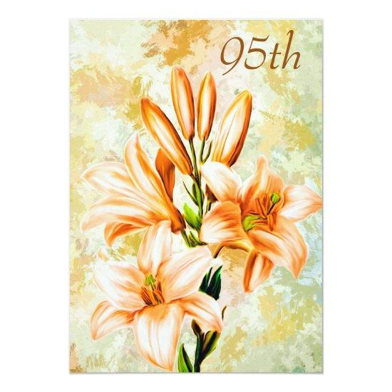 Chic Peach White Lilies 95th Birthday Invitations