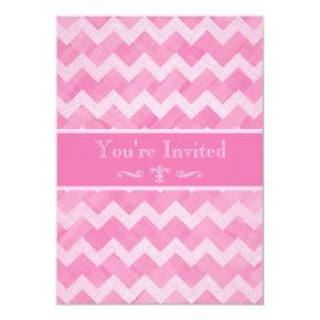 Chic Pink Chevron 90th Birthday Double Sided Print Invitations