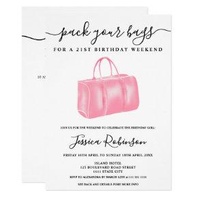 Chic pink watercolor bag birthday program weekend