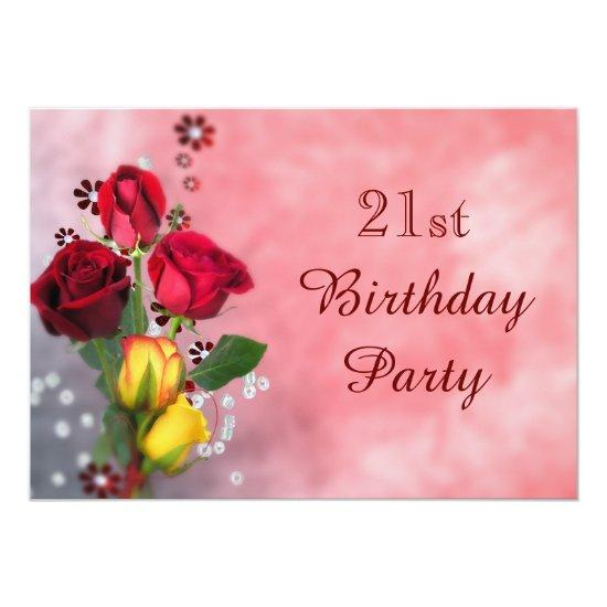 Chic Red Yellow Roses 21st Birthday Card Candied Clouds