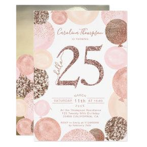 Chic rose gold glitter pink balloon photo 25th invitation